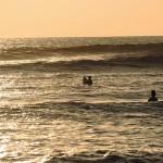 Surfing at sunset, Canggu, Bali