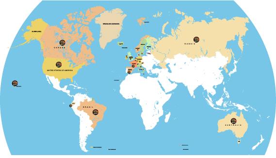 Camp d'automne BJJ Globetrotters carte des nationalités